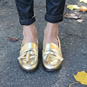 Coach gold tassel loafers